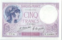 France 5 Francs Helmeted woman 02-10-1923 Serial F.15083