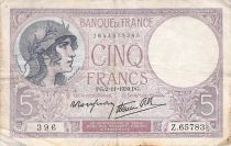 France 5 Francs Helmeted woman 02-11-1939 Serial Z.65783 - F+