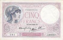 France 5 Francs Helmeted woman 03-08-1939 Serial J.60223 - VF