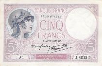 France 5 Francs Helmeted woman 03-08-1939 Serial J.60223 - VF