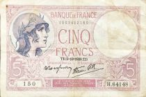 France 5 Francs Helmeted woman 05-10-1939 Serial H.64148 - F+