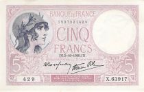 France 5 Francs Helmeted woman 05-10-1939 Serial X.63917 - VF to XF