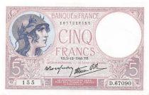 France 5 Francs Helmeted woman 05-12-1940 Serial D.67090 - aUNC