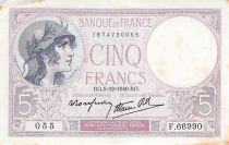 France 5 Francs Helmeted woman 05-12-1940 Serial K.66990 - VF to XF