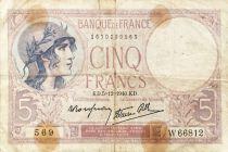 France 5 Francs Helmeted woman 05-12-1940 Serial W.66812 - F