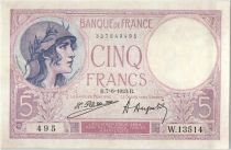 France 5 Francs Helmeted woman 07-06-1923 Serial W.13514
