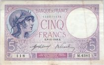 France 5 Francs Helmeted woman 08-11-1918 Serial M. 4381