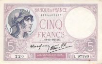 France 5 Francs Helmeted woman 12-12-1940 Serial L.67380 - VF to XF
