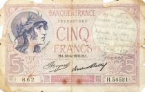 France 5 Francs Helmeted woman 13-04-1933 Serial H.54521 - G