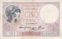 France 5 Francs Helmeted woman 14-09-1939 Serial H.62472 - F to VF