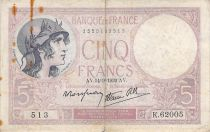 France 5 Francs Helmeted woman 14-09-1939 Serial K.62005 - F+