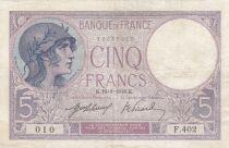 France 5 Francs Helmeted woman 16-01-1918 Serial F.402 - VF