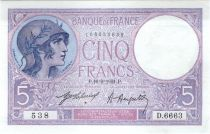 France 5 Francs Helmeted woman 16-02-1921 Serial D.6663