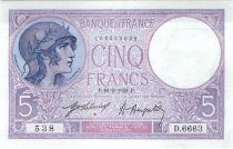 France 5 Francs Helmeted woman 16-02-1921 Serial D.6663