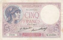 France 5 Francs Helmeted woman 17-07-1928 Serial W.35296 - VF