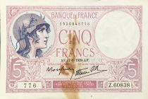 France 5 Francs Helmeted woman 17-08-1939 Serial Z.60838 - F+
