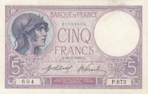 France 5 Francs Helmeted woman 19-02-1918 Serial p.872 - VF