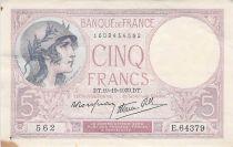 France 5 Francs Helmeted woman 19-10-1939 Serial E.64379 - VF+