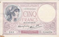 France 5 Francs Helmeted woman 19-10-1939 Serial E.64379 - VF+
