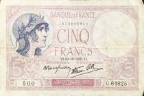France 5 Francs Helmeted woman 19-10-1939 Serial G.64825 - VF