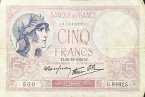 France 5 Francs Helmeted woman 19-10-1939 Serial G.64825 - VF