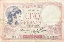 France 5 Francs Helmeted woman 19-10-1939 Serial O.64358 - F