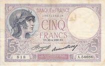 France 5 Francs Helmeted woman 20-04-1933 Serial A.54686 - F+