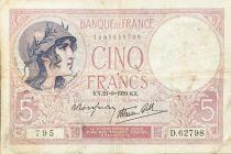 France 5 Francs Helmeted woman 21-09-1939 Serial D.62798 - F