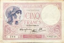 France 5 Francs Helmeted woman 21-09-1939 Serial S.62718 - F