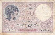 France 5 Francs Helmeted woman 21-09-1939 Serial W.62754 - F