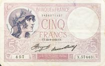 France 5 Francs Helmeted woman 24-08-1933 Serial X.57443 - VF