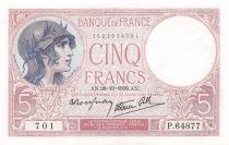 France 5 Francs Helmeted woman 26-10-1939 Serial P.64877 - AU
