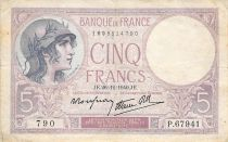 France 5 Francs Helmeted woman 26-12-1940 Serial P.67941 - F
