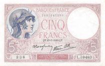 France 5 Francs Helmeted woman 27-07-1939 Serial L.59483 - XF+