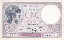France 5 Francs Helmeted woman 28-11-1940 Serial E.66395 - VF