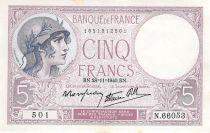 France 5 Francs Helmeted woman 28-11-1940 Serial N.66053 - VF+