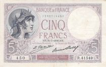 France 5 Francs Helmeted woman 31-07-1930 Serial R.41549 - VF