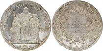 France 5 Francs Hercule - 1876 A Paris- Argent