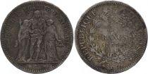 France 5 Francs Hercule - 1877 K Bordeaux - Argent - 2nd EX
