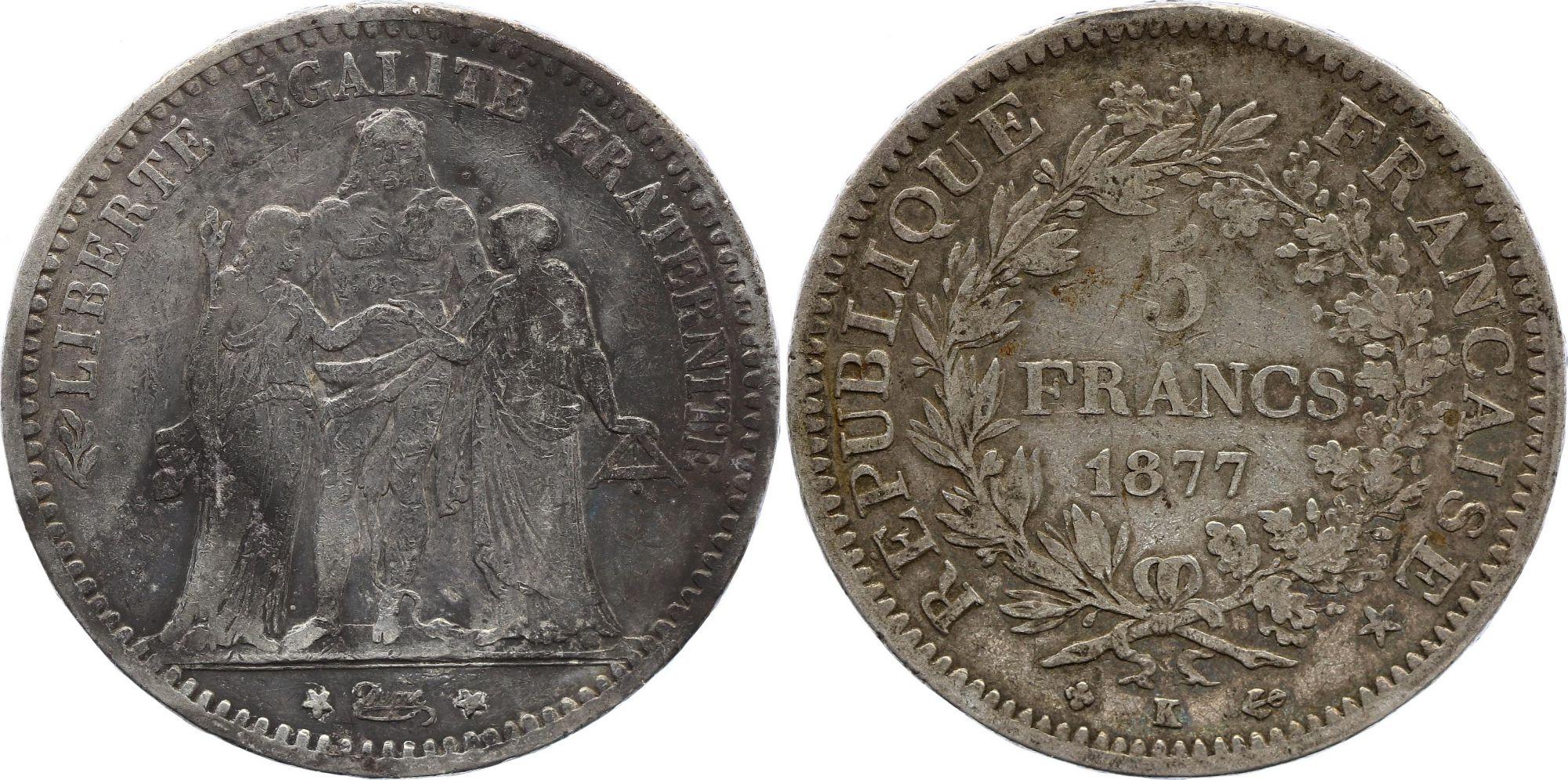France 5 Francs Hercule - 1877 K Bordeaux - Argent