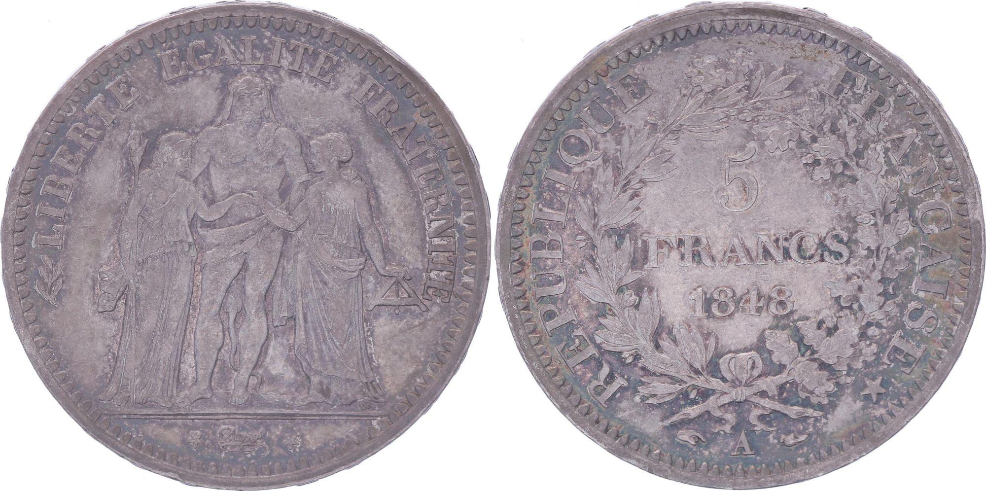 France 5 Francs Hercule - IIeme République - 1848 A Paris - TTB+