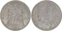 France 5 Francs Hercule - III e République - 1875 A Paris - Argent