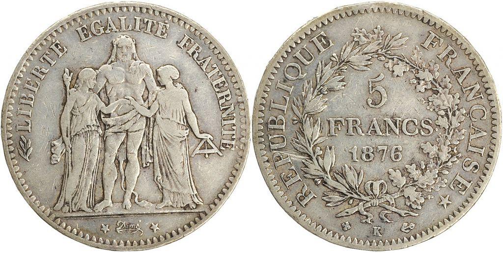 France 5 Francs Hercule - III e République 1876 K Bordeaux