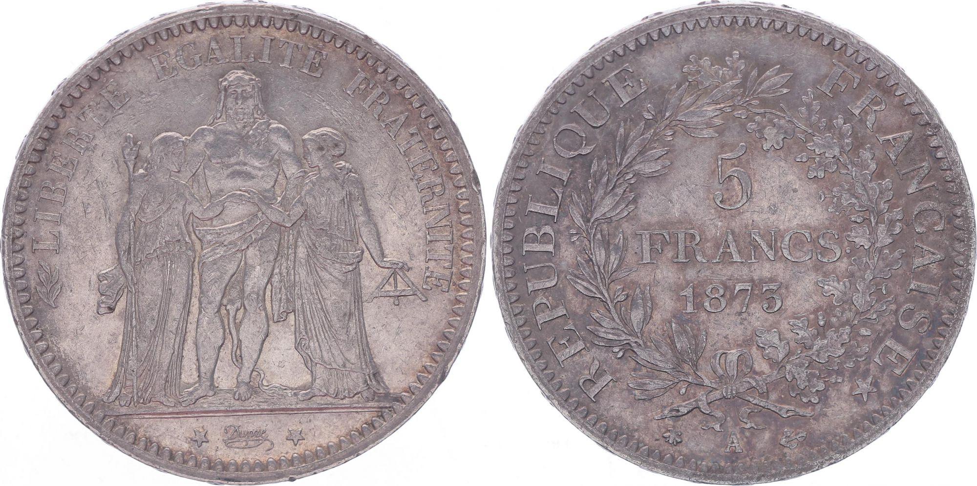 France 5 Francs Hercule - IIIeme République - 1873 A Paris - TTB+