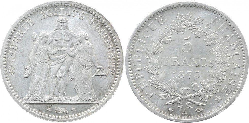 France 5 Francs Hercule - IIIeme République - 1873 A Paris