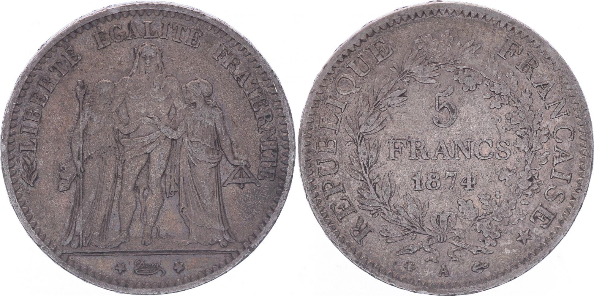 France 5 Francs Hercule - IIIeme République - 1874 A Paris - TB+