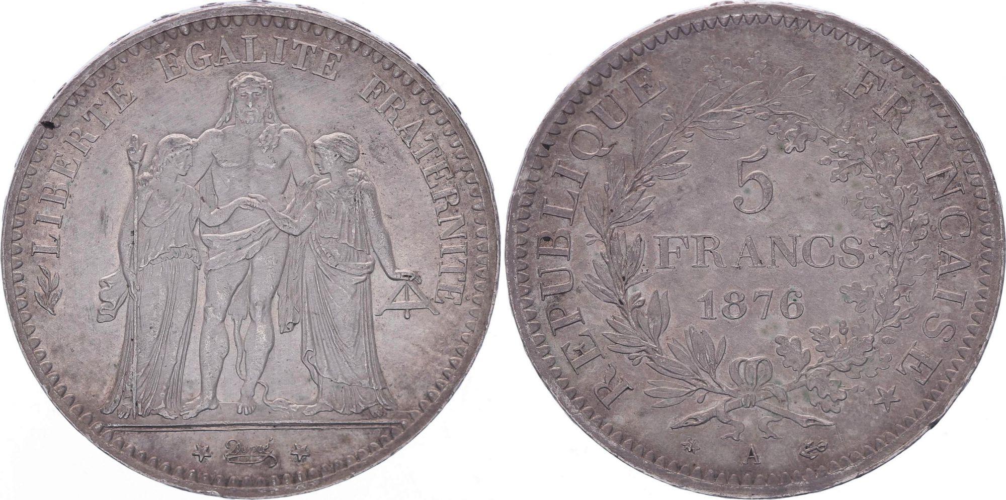 France 5 Francs Hercule - IIIeme République - 1876 A Paris - TTB+