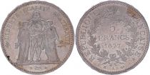 France 5 Francs Hercule - IIIeme République - 1877 A Paris - SUP