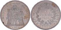 France 5 Francs Hercule - IIIeme République - 1877 A Paris - SUP
