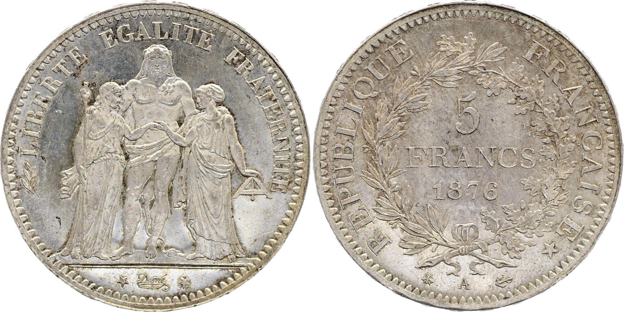 France 5 Francs Hercules - 1876 A Paris - Silver